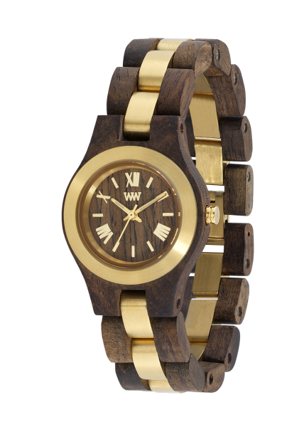 WEWOOD CRISS ME CHOCO ROUGH GOLD DamenArmbanduhr aus Holz